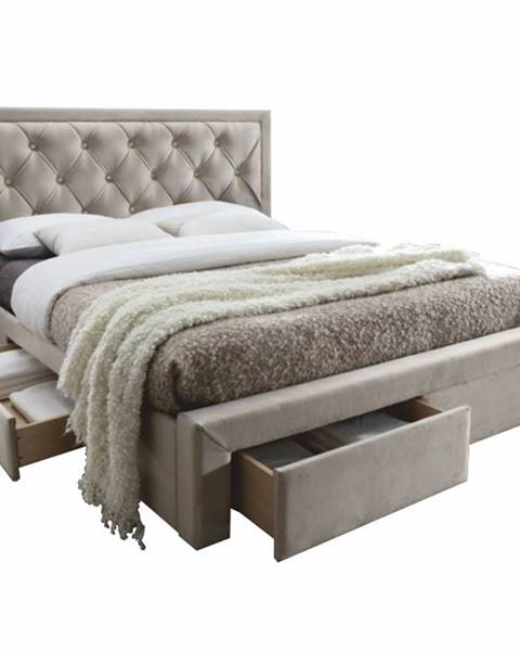 Tempo Kondela Orea 180 čalúnená manželská posteľ s roštom sivohnedá