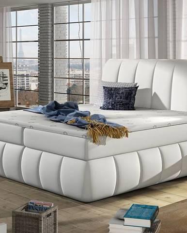 Vareso 140 čalúnená manželská posteľ s úložným priestorom biela