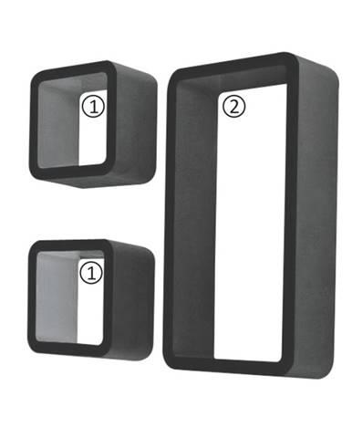 Trix poličky (3 ks) čierna