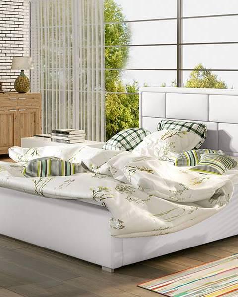 NABBI Liza 200 čalúnená manželská posteľ s roštom biela