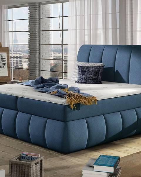 NABBI Vareso 140 čalúnená manželská posteľ s úložným priestorom modrá (Orinoco 80)