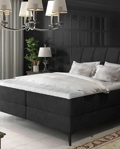 Altama 160 čalúnená manželská posteľ s úložným priestorom čierna (Ontario 100)