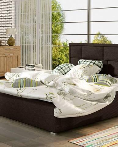 Liza UP 200 čalúnená manželská posteľ s roštom tmavohnedá (Sawana 26)