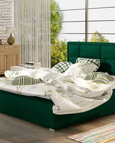 Liza UP 200 čalúnená manželská posteľ s roštom tmavozelená