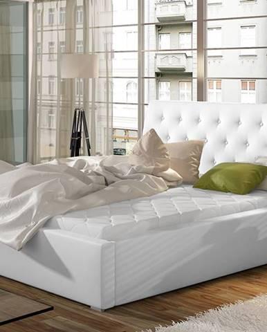 Monzo 140 čalúnená manželská posteľ s roštom biela