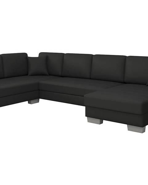 NABBI Mariano L rohová sedačka u s rozkladom a úložným priestorom čierna