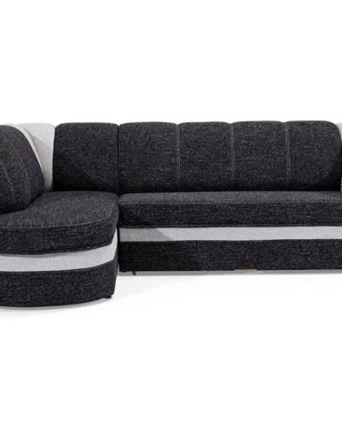 Belluno L rohová sedačka s rozkladom a úložným priestorom čierna