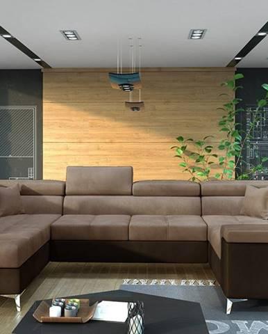 Torres U P rohová sedačka u s rozkladom a úložným priestorom hnedá