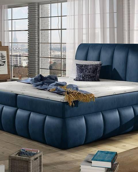 NABBI Vareso 140 čalúnená manželská posteľ s úložným priestorom tmavomodrá (Monolith 77)
