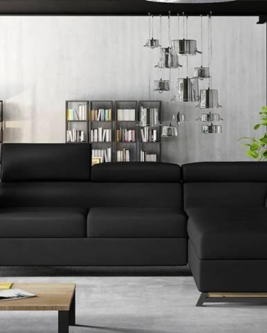 Korense P rohová sedačka s rozkladom a úložným priestorom čierna (Soft 11)