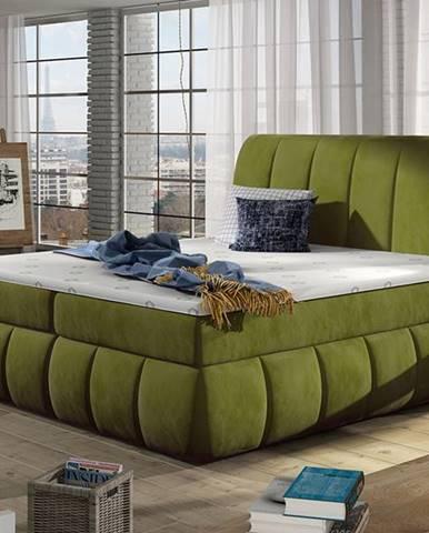 Vareso 160 čalúnená manželská posteľ s úložným priestorom zelená