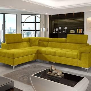 Enna L rohová sedačka s rozkladom a úložným priestorom žltá