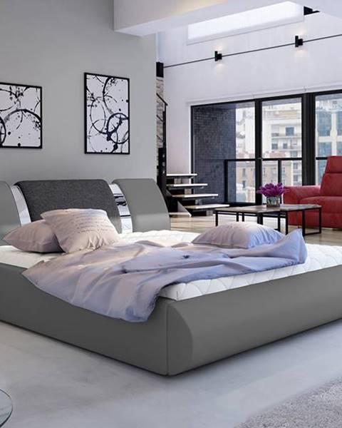 NABBI Folino 160 čalúnená manželská posteľ s roštom sivá