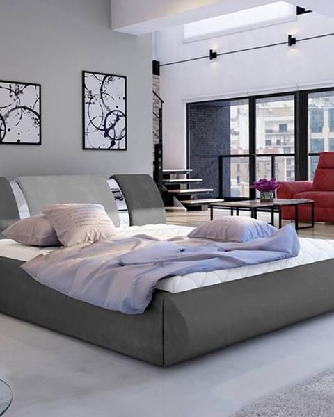 NABBI Folino 160 čalúnená manželská posteľ s roštom tmavosivá