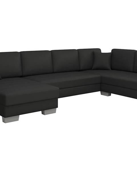 NABBI Mariano P rohová sedačka u s rozkladom a úložným priestorom čierna