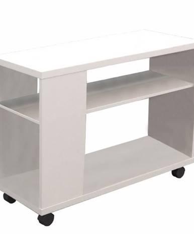 Zoela New príručný stolík na kolieskach biela