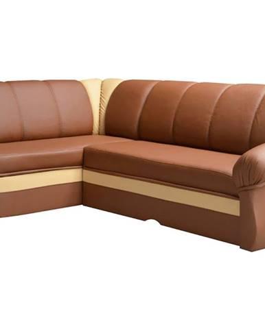 Belluno L rohová sedačka s rozkladom a úložným priestorom hnedá