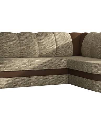 Belluno P rohová sedačka s rozkladom a úložným priestorom cappuccino