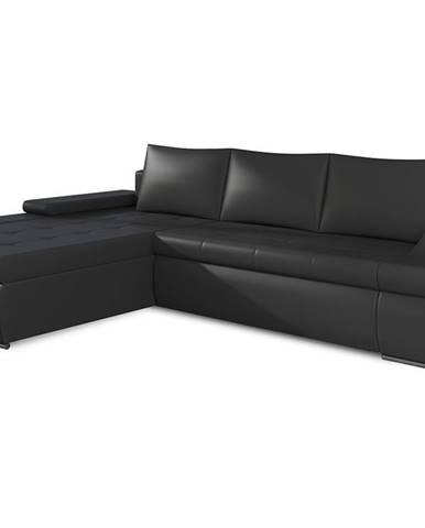Oristano L rohová sedačka s rozkladom a úložným priestorom čierna (Soft 11)