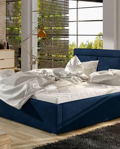 Branco 140 čalúnená manželská posteľ s roštom tmavomodrá