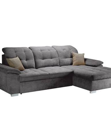 Evangelin P rohová sedačka s rozkladom a úložným priestorom sivá