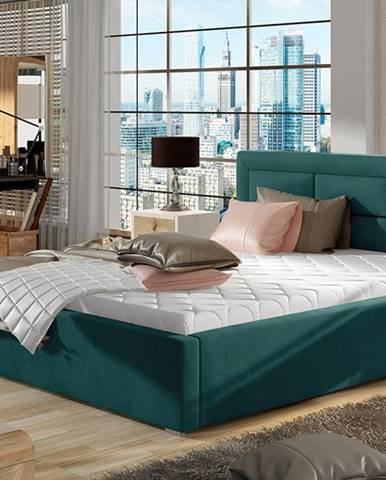 Rovigo 140 čalúnená manželská posteľ s roštom tyrkysová
