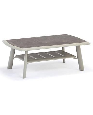 Sivý hliníkový konferenčný záhradný stôl s HPL doskou Ezeis Spring