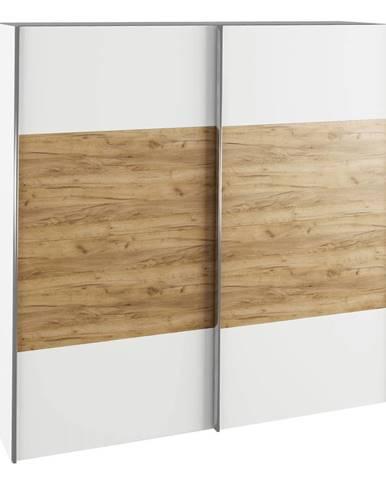 Skriňa s posúvacími dverami biela/dub artisan GABRIELA