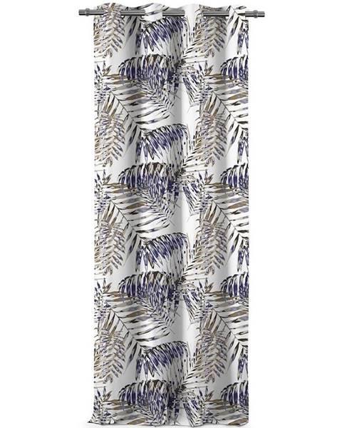 Fieldmann AmeliaHome Záves Blackout Palm Leaves modrá, 140 x 245 cm