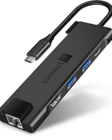 USB Hub Connect IT USB-C/RJ45, Hdmi, 2x USB 3.2, USB-C PD 100W sivý