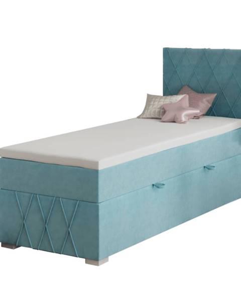 Kondela Boxspringová posteľ jednolôžko modrá 80x200 pravá PAXTON