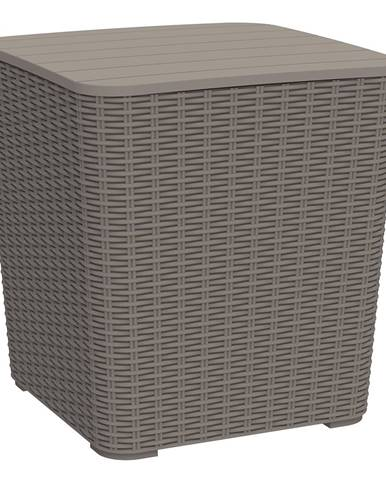 Záhradný úložný box/príručný stolík sivohnedá UGUR