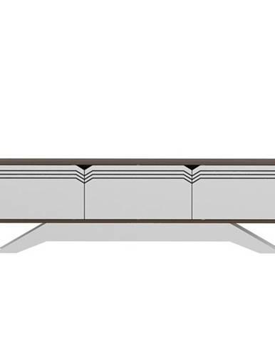 TV stolík PIYAR orech/biela