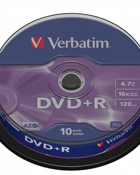 Verbatim Disk Verbatim DVD+R, 4,7GB, bez možnosti potlače, 10 ks 43498