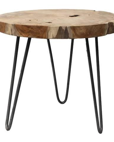 Odkladací stolík s doskou z teakového dreva HSM Collection Helen, ⌀ 55 cm