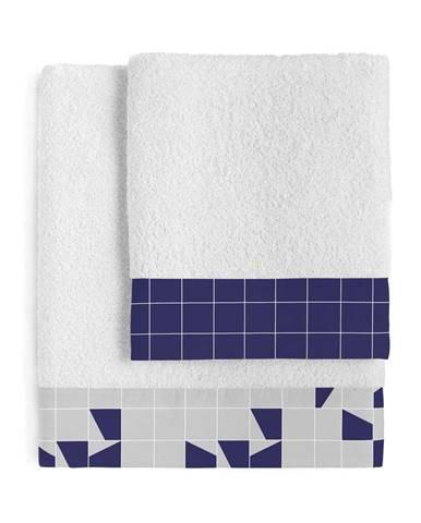 Súprava 2 bavlnených uterákov Blanc Structure