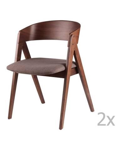 Súprava 2 jedálenských stoličiek s hnedým sedákom sømcasa Rina