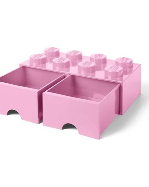 LEGO® Svetloružový úložný box s dvoma zásuvkami LEGO®