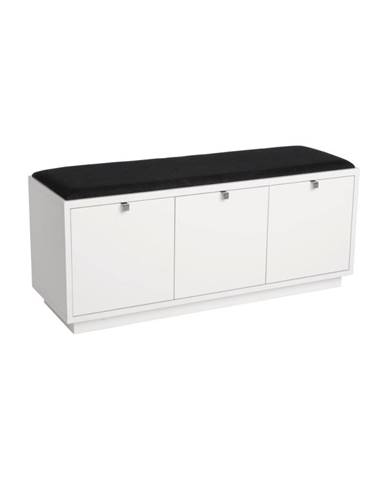 Biela lavica s úložným priestorom a s čiernym sedadlom Rowico Confetti, šírka 106 cm