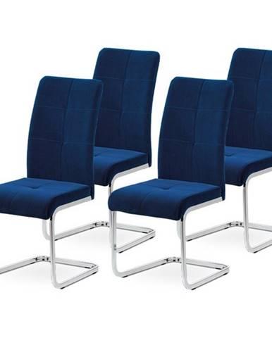 Sada jedálenských stoličiek MIRELLA 4 ks-modrá/chróm