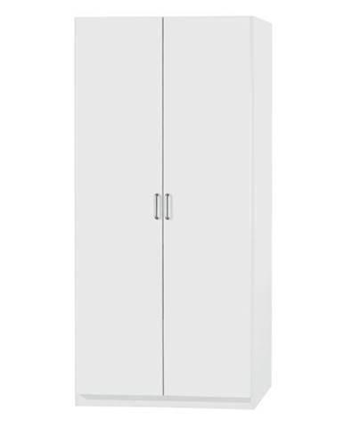 Policová skriňa PARKER biela, výška 197 cm, hĺbka 41 cm