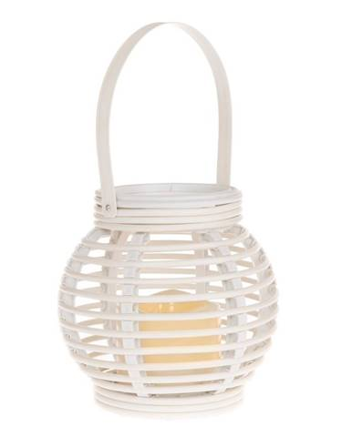 Lampáš s LED sviečkou Lucida, biela, 14 x 13 x 14 cm
