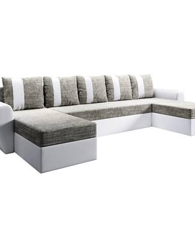 Univerzálna sedacia súprava biela/sivohnedá LUNY ROH U