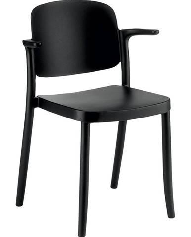 Plastová Stolička S Podrúčkami Plaza Čierna