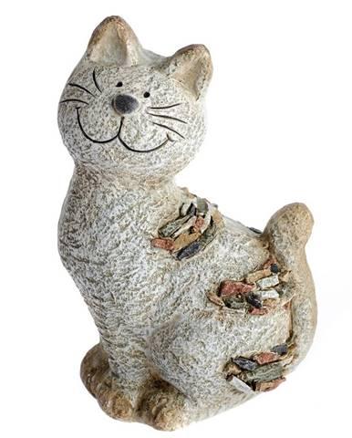 Záhradná dekorácia Mačka s kamienkami, 18 x 28,5 x 13 cm