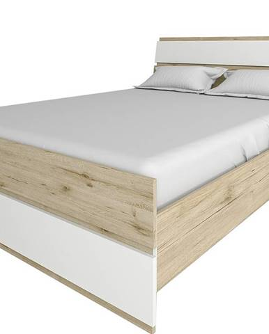 Leksand 160 manželská posteľ s roštom dub wellington