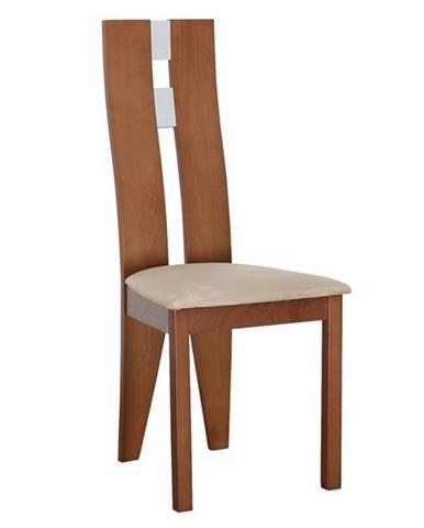 Drevená stolička čerešňa/látka béžová BONA