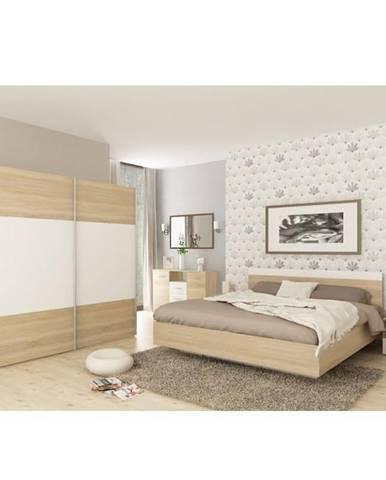 Spálňový komplet (posteľ 160x200 cm) dub sonoma/biela GABRIELA