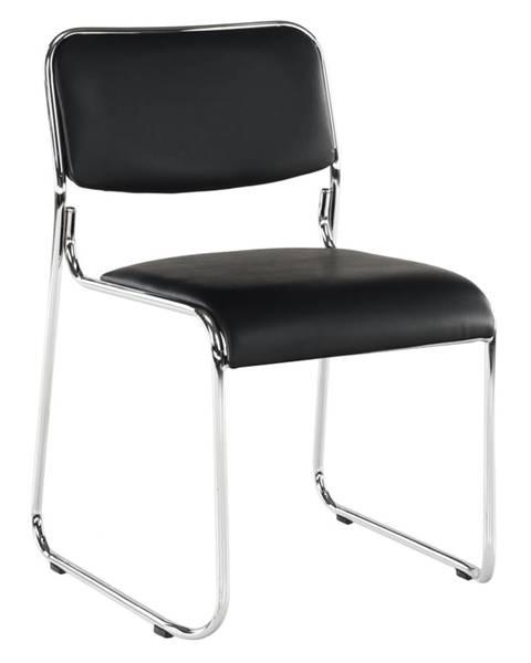 Kondela Zasadacia stolička čierna ekokoža BULUT rozbalený tovar