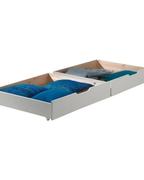Vipack Sada 2 bielych úložných boxov pod posteľ Vipack Pino